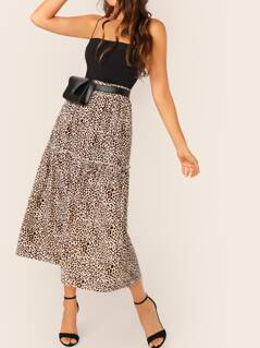 Frill Trim Leopard Swing Skirt