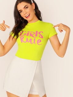 Neon Lime Mock-Neck Slogan Print Form Fitted Top