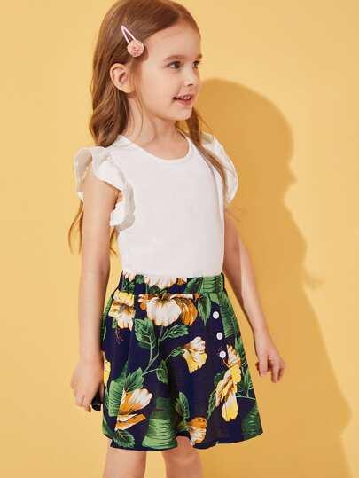 Фото 3 - Сетчатая блуза с вышивкой и майка для девочек от SheIn цвет многоцветный