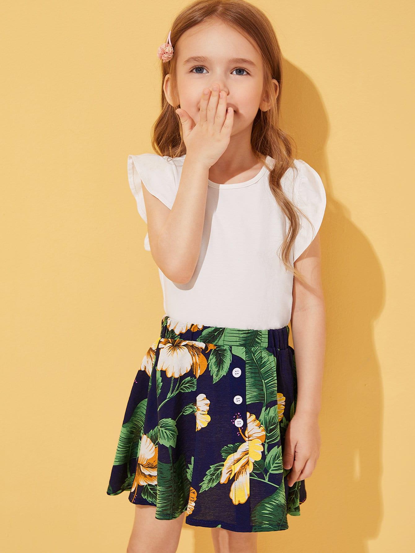 Фото - Сетчатая блуза с вышивкой и майка для девочек от SheIn цвет многоцветный