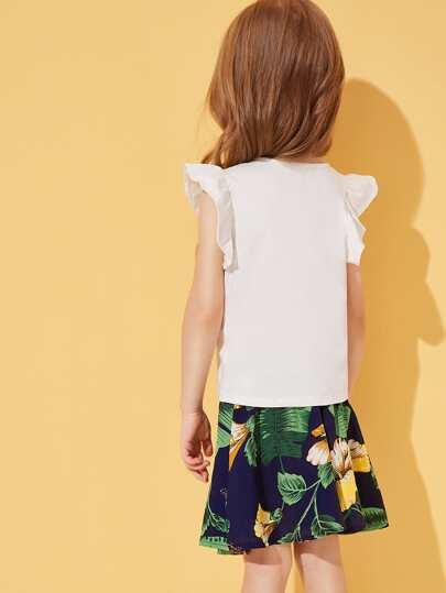 Фото 2 - Сетчатая блуза с вышивкой и майка для девочек от SheIn цвет многоцветный
