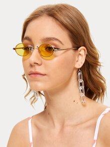 Oval Metal Frame Sunglasses