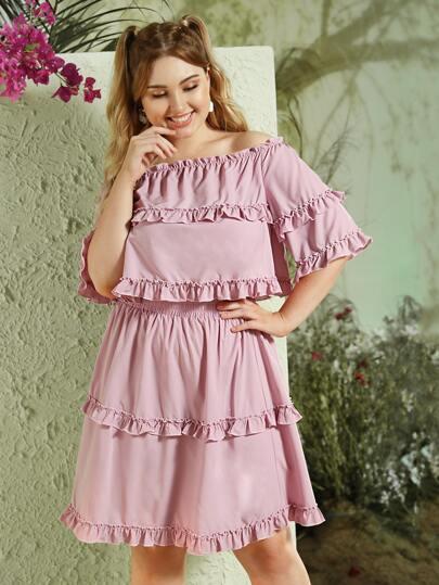 SheIn / Plus Off-shoulder Frill Trim Blouse & Skirt