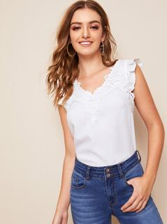 Ruffle Armhole Lace Detail Solid Top