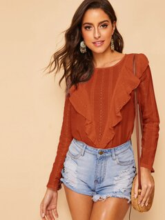 Solid Ruffle Trim Schiffy Top