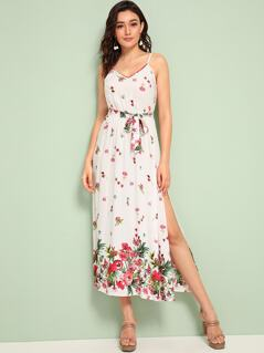 Flower Print Split Thigh Belted Slip Dress