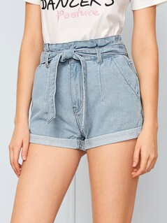 Paperbag Waist Belted Cuffed Shorts