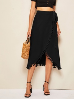Tassel Trim Wrap Knotted Skirt