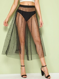 Beaded Detail Sheer Mesh Cover Up Skirt