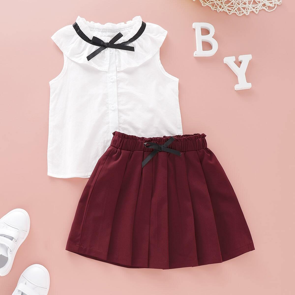 Футболка с оборками и юбка с бантом для девочек от SHEIN