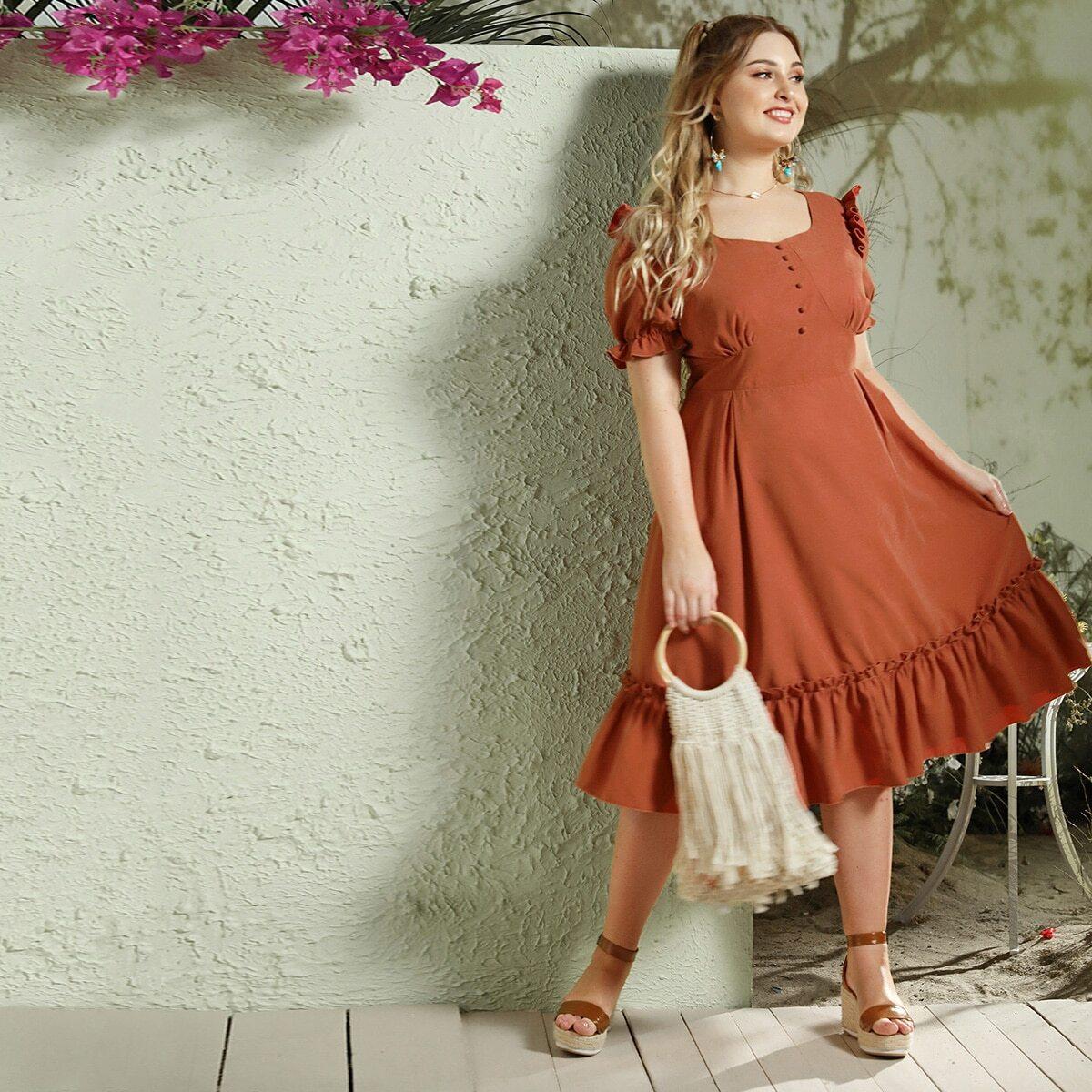 Roest Casual Vlak Grote maten jurken Knoop