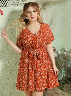 Plus Ditsy Floral Lace Yoke Button Front Belted Dress