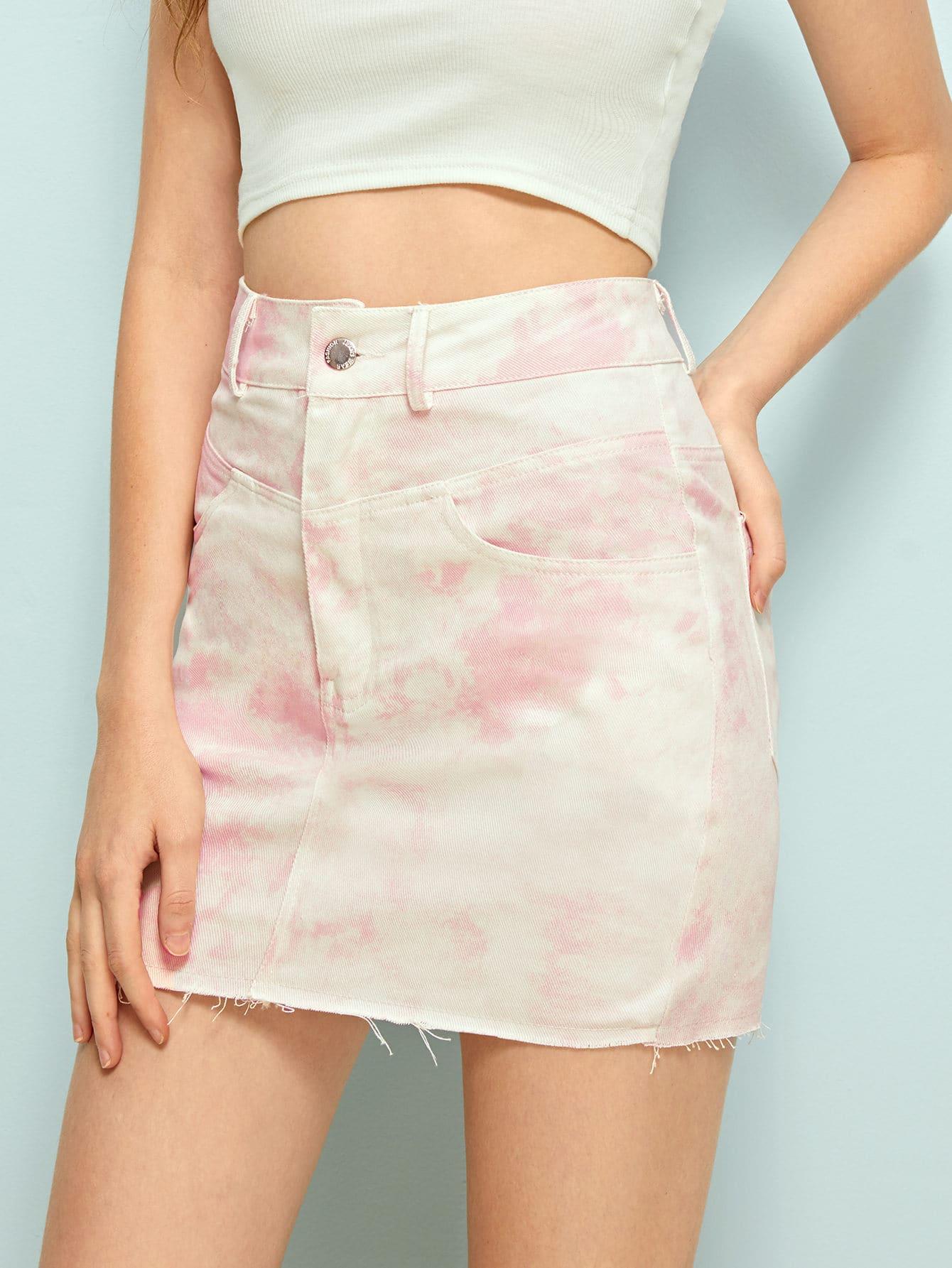 Фото - Многоцветный с карманами Галстуковый краситель Стиль кэжуал Джинсовые юбки от SheIn цвет многоцветный
