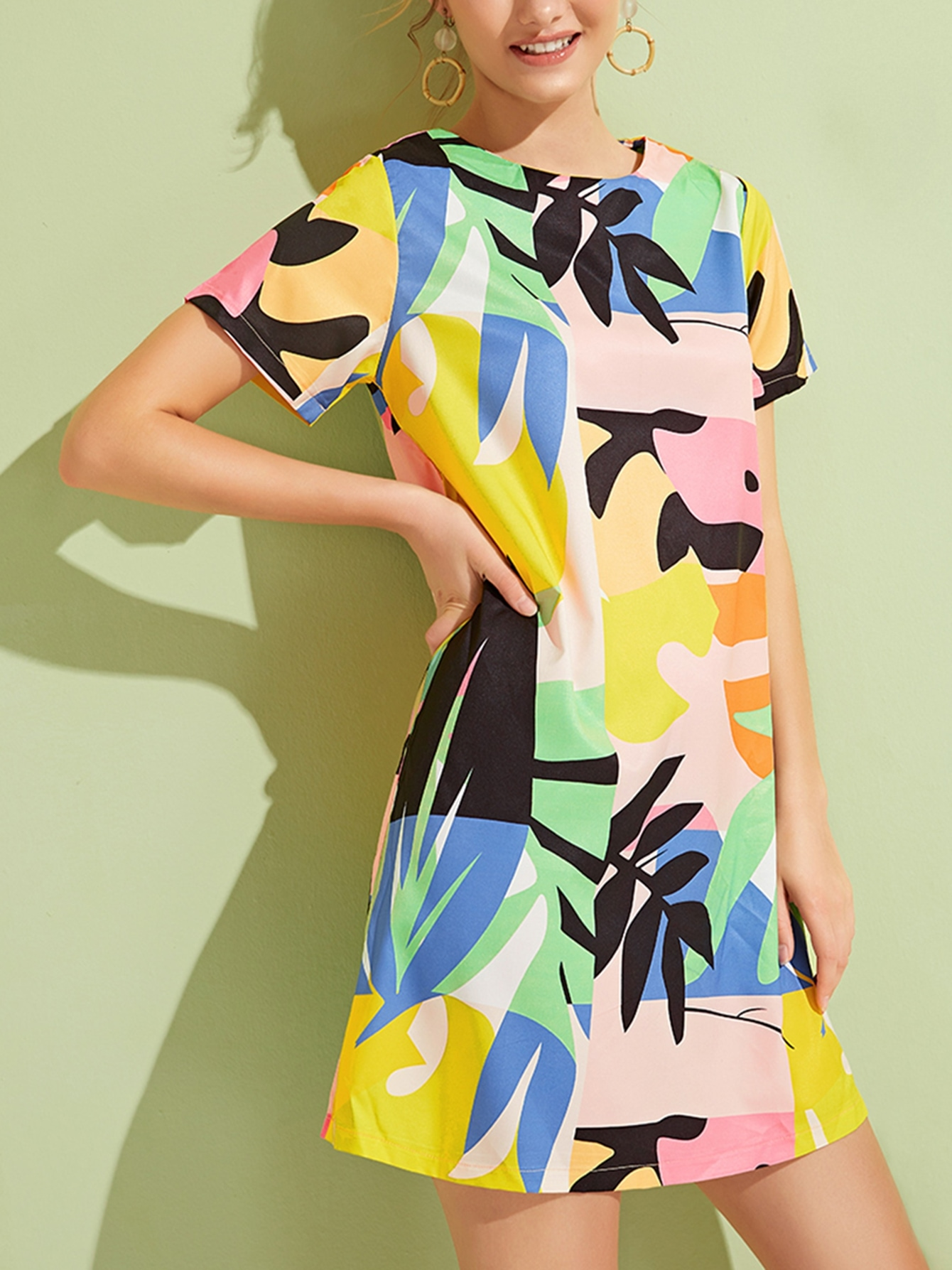 Фото - Разноцветное платье с принтом листьев от SheIn цвет многоцветный