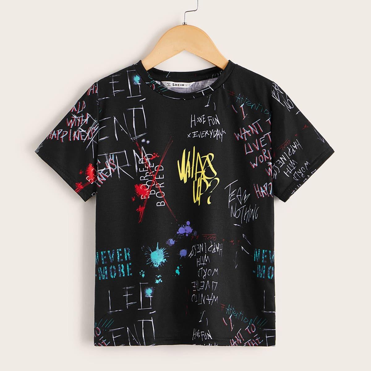 Zwart Casual Slogan Shirts jongens