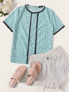 Lace Trim Polka Dot Print Top