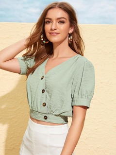 Asymmetrical Button Front Wide Hem Wrap Top