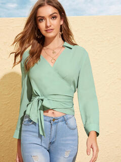Collared Wrap Belted Top