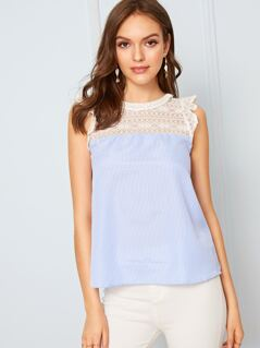 Cutout Back Lace Insert Ruffle Armhole Striped Top