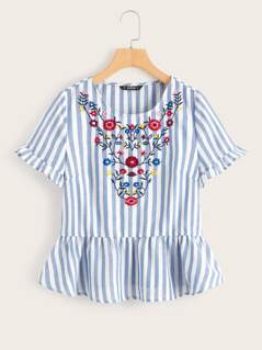 Ruffle Cuff Striped Embroidery Peplum Top