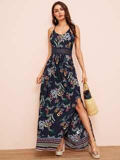 Botanical Print Guipure Lace Insert Split Halter Dress