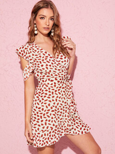 Ruffle Trim Wrap Belted Confetti Heart Print Dress