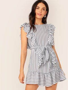 Split Back Ruffle Trim Belted Striped Dress