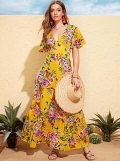 Floral Print Flutter Sleeve Wide Waistband Dress
