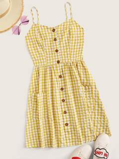 Button Front Pocket Patched Gingham Cami Dress