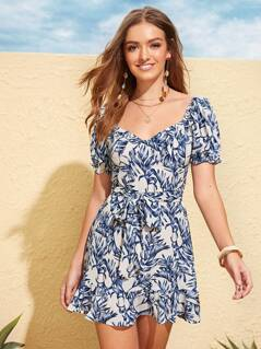 Tropical Print Ruffle Trim Belted Dress
