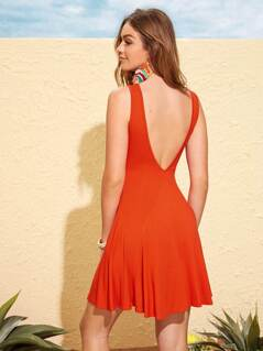 Neon Orange Sleeveless Skater Dress