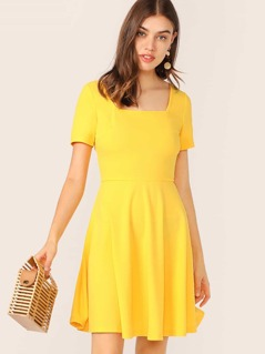 Solid Fit and Flare Dress