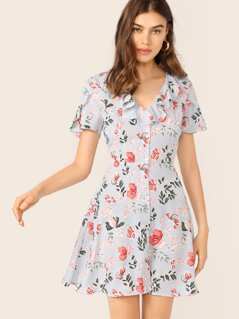 Petal Sleeve Ruffle Trim Button Flare Dress