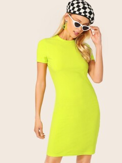 Neon Yellow Form Fitted Dress