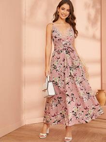 Lace Trim Tie Front Pleated Detail Floral Print Dress