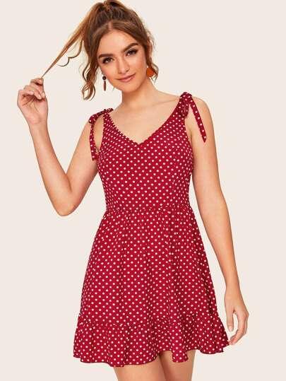 Фото 2 - Платье в горошек на кулиске с пуговицами от SheIn цвет жёлтые