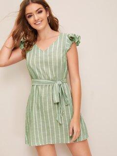 Layered Ruffle Armhole Self Belted Striped Dress