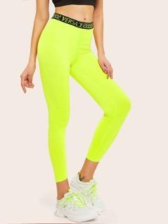 Neon Lime Lettering Tape Waist Leggings