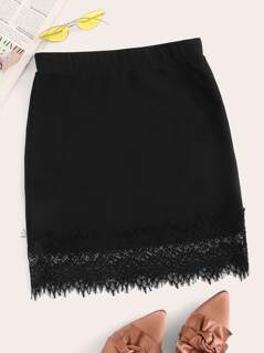 Eyelash Lace Hem Solid Bodycon Skirt