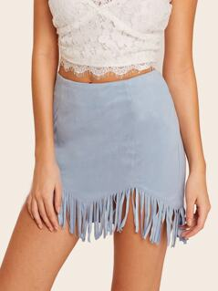 Zip Side Fringe Hem Suede Skirt