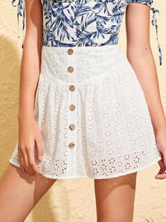 Buttoned Front Wide Waistband Schiffy Skirt