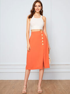 Neon Orange Button Up Skirt