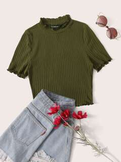 Mock Neck Lettuce Trim Rib-knit Top