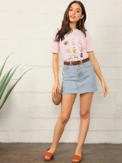 Floral and Letter Print Tee