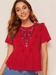 Ruffle Trim Embroidery Peplum Top
