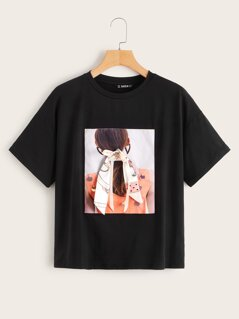 Graphic Patched Figure Print Tee
