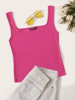 Square Neck Rib-knit Form Fitting Tank Top