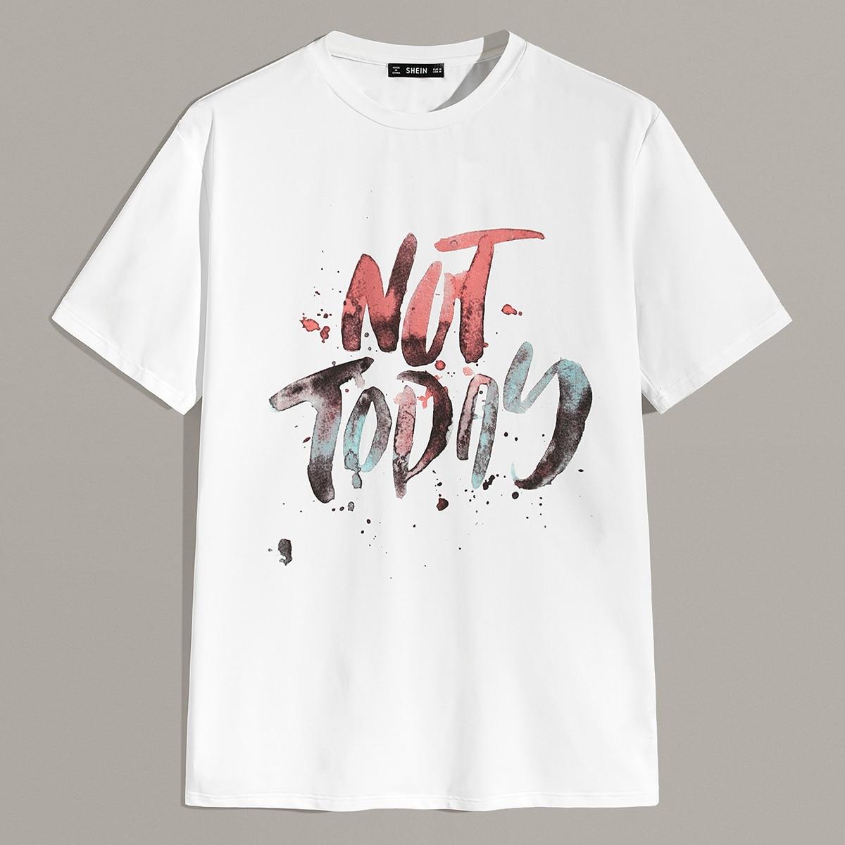 Wit Casual Slogan Shirts mannen