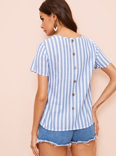 Pocket Patched Button Back Striped Blouse