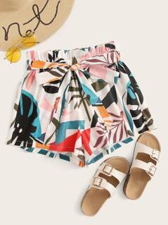 Mixed Print Paperbag Waist Belted Shorts